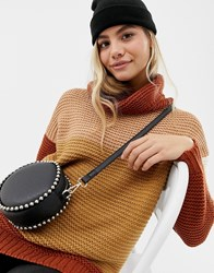Brave Soul Patchy Stripe Sweater Brown