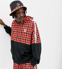 Puma Recycled Polyester Check Hoodie In Red Exclusive At Asos