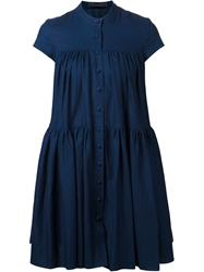 Co Button Down Flared Dress Blue