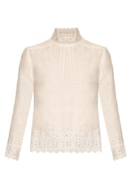 Bliss And Mischief High Neck Linen Blouse White