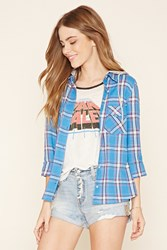 Forever 21 Plaid Flannel Hooded Shirt