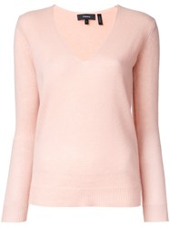 Theory V Neck Jumper Pink Purple