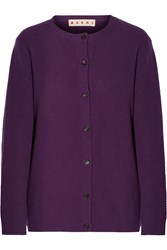 Marni Zip Detailed Cashmere Cardigan Purple