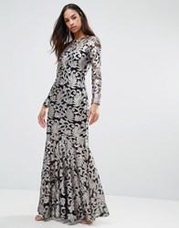 Club L Brocade Sequin Fishtail Maxi Dress With Long Sleeves Black Pewter Sequins
