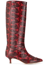Tibi Snakeskin Effect Boots Red