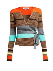 Diane Von Furstenberg Striped Knitted Wrap Cardigan Multi