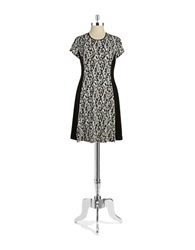 Vince Camuto Petite Snakeskin Print Fit And Flare Dress New Ivory Black