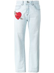 Gucci Embroidered Heart Jeans Women Cotton 30 Blue