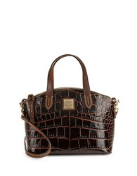 Dooney And Bourke Ruby Croco Embossed Leather Mini Satchel Brown T'moro