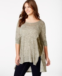 Eyeshadow Plus Size Lace Panel Hi Low Tunic
