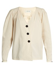 Christophe Lemaire Deep V Neck Cotton Blouse Cream