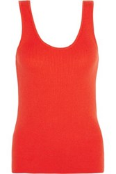 Equipment Femme Miller Ribbed Cotton Silk And Cashmere Blend Tank Orange