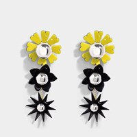 Kenzo Flowers Earrings In Pearl Grey Metal And Plexi