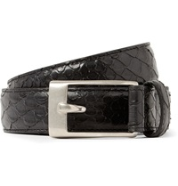 Saint Laurent 2.5Cm Black Python Effect Leather Belt