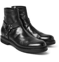 Rick Owens Leather Harness Boots Black