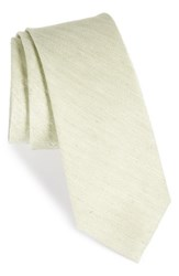 The Tie Bar Men's Herringbone Linen And Silk Skinny Sage Green