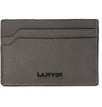 Lanvin Full Grain Leather Cardholder Gray