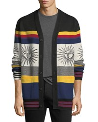 Ovadia And Sons Striped Sunny Wool Cardigan Multi
