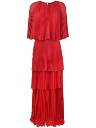 Capucci Maxi Pleated Dress Red
