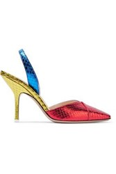Attico Woman Color Block Metallic Watersnake Slingback Pumps Multicolor