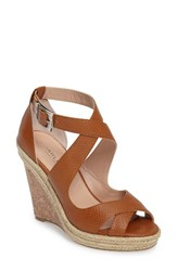 Charles By Charles David Women's Belfast Strappy Wedge Sandal Brown Snake Embossed Leather