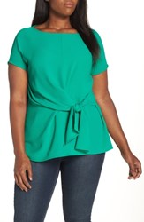 Gibson Tie Front Blouse Green Lake