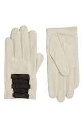 Kate Spade Women's New York Elastic Bow Leather Gloves Cream