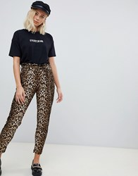 Qed London Paperbag Waist Trousers In Leopard Print Leopard Print Brown