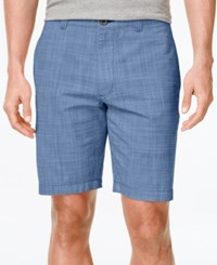 Club Room Men's Big And Tall Micro Check Flat Front Shorts Only At Macy's Palace Blue