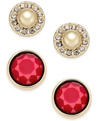 Charter Club Gold Tone Imitation Pearl Pave And Colored Stone 2 Pc. Set Stud Earrings Only At Macy's