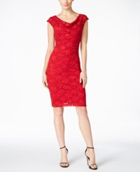 Connected Sequined Lace Sheath Dress Red
