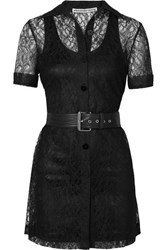Alexander Wang Belted Lace Mini Dress Black
