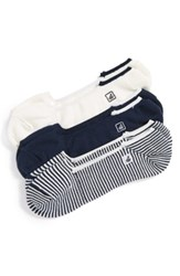 Sperry Skimmers Feed Assorted 3 Pack Socks Navy White