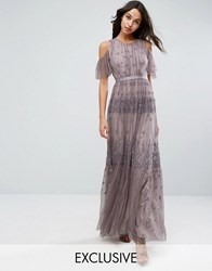 Needle And Thread Daisy Embroidery Maxi Dress With Cold Shoulder Lavender Purple