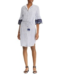 Ralph Lauren Embroidered Bell Sleeve Shirt Dress Blue White