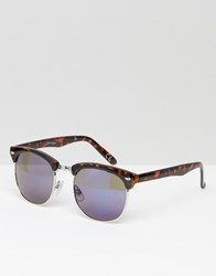 Jeepers Peepers Retro Sunglasses In Tort With Blue Lens Brown