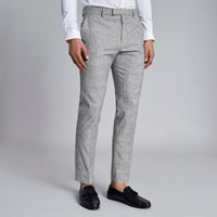 River Island Light Grey Check Skinny Fit Suit Trousers