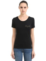 Maison Labiche Baby Doll Embroidered Jersey T Shirt Black