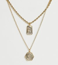 Reclaimed Vintage Inspired St Christopher Multirow Necklace Gold