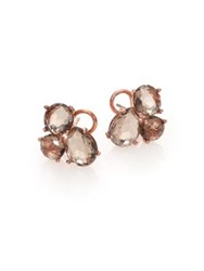 Ippolita Rose Rock Candy Smoky Quartz Doublet Cluster Earrings Rose Gold
