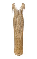 Marchesa Bugle Beaded Fringe Lace Gown Gold