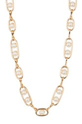 Stephan And Co Simulated Pearl Chain Link Necklace White