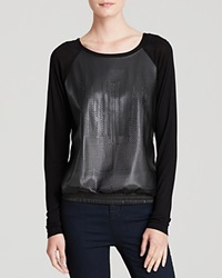 Candc California C And C California Sweatshirt Perforated Faux Leather Black