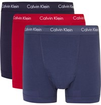 Calvin Klein Underwear Three Pack Stretch Cotton Boxer Briefs Blue