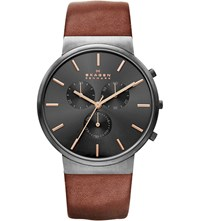 Skagen Ancher Chronograph Leather Watch Black