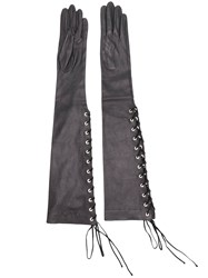 Unravel Project Lace Up Long Gloves Black