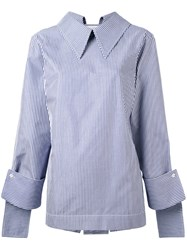 Delada Striped Blouse Women Cotton 3 Blue