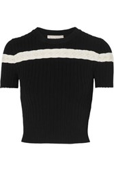 Alexander Mcqueen Pointelle Trimmed Cable Knit Top Black