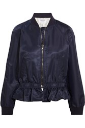 Frame Ruffled Shell Bomber Jacket Navy