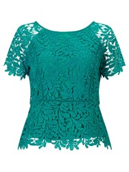 Jacques Vert Leaf Lace Top Bright Green